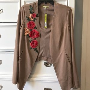 Gianni Bini Jacket Floral Embroidery Size Small