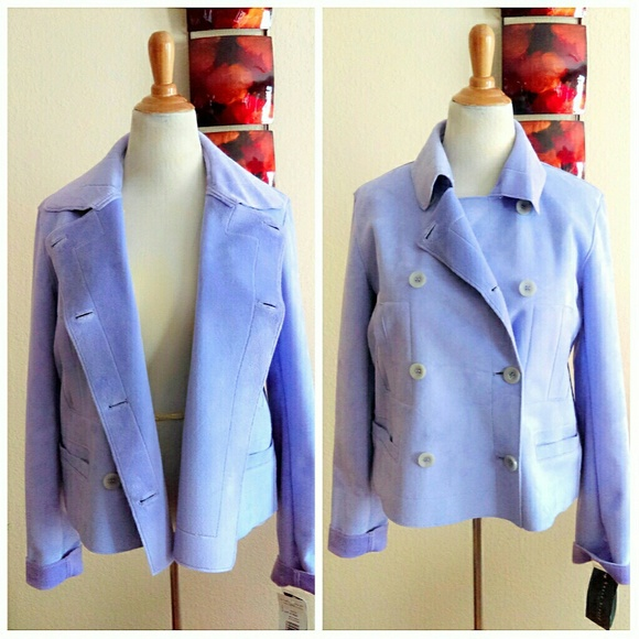 Harve Benard Jackets & Blazers - Vegan Suede, Faux Shearling Lilac Coat