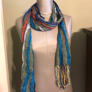 Shades of blue yellow red & white fringe scarf