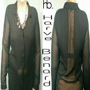 NWOT Harve Benard sheer black blouse