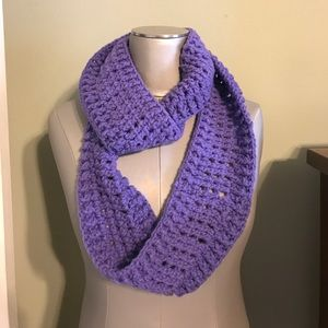 Hand made purple knit infinity scarf