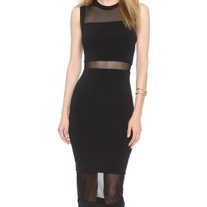 Alice + Olivia - Fitted Long Sheer Inset Dress