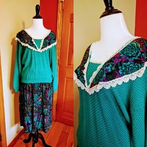 Vintage teal sweater skirt set with floral design