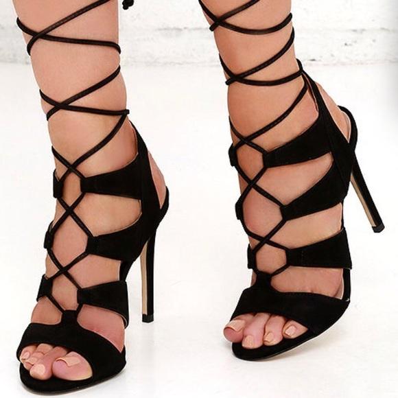 30d94b26f6b Steve Madden Sandalia Suede Sandals Lace-Up Heels