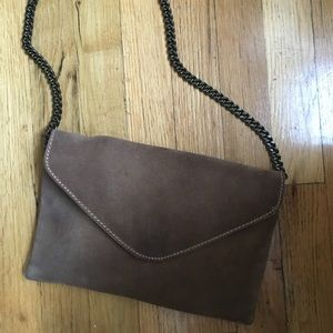 J. CREW Tan Suede Bag with Chain Strap