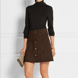 Frame Suede Paneled Mini Skirt