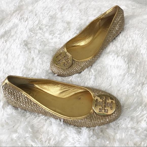 Tory Burch Burch Tory Schuhes   Metallic Straw Reva Ballet Flat In Gold   Poshmark 37b4cb