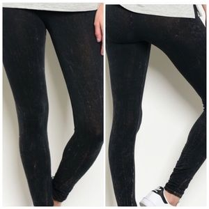 Black Marble Elastic waistband leggings