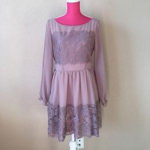 Soieblue Long Sleeve Lace Lavender Dress