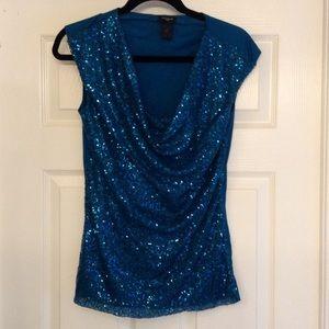 Gorgeous Blue Sequin Top
