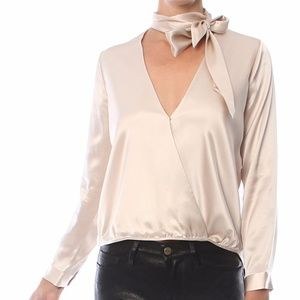 Michelle Mason gray tie neck wrap blouse
