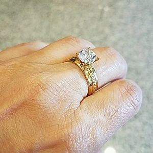 Jewelry - New Yellow gold plated Engagement Ring size 8