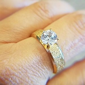 Jewelry - Gold plated 1ct CZ Engagement Ring size 8