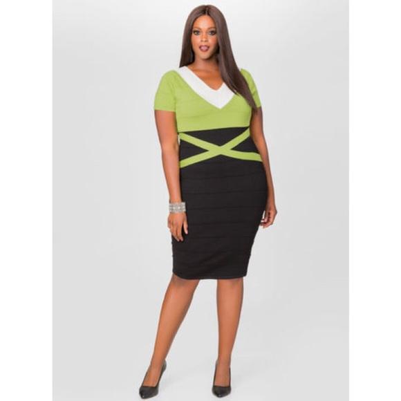 55a1eb13046 Ashley Stewart Dresses   Skirts - Ashley Stewart Green Black Bodycon Dress  18 20