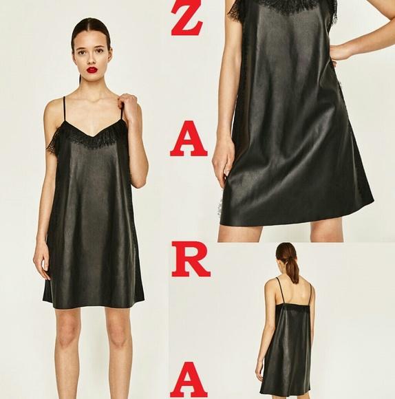 20954cfbc716d Zara Dresses | Soft Faux Leather Lace Trim Camisole Dress | Poshmark