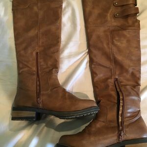 Brown pleather tall boots size 6