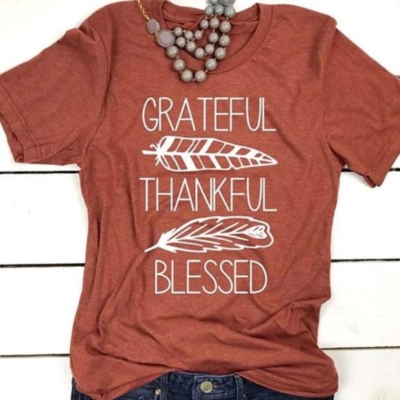 ce11e095f Boutique Tops | Thankful Grateful Blessed Orange Graphic Tshirt ...