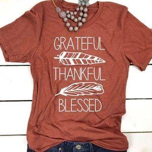 Thankful Grateful Blessed Orange Graphic T-Shirt