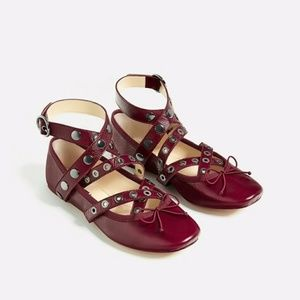 Zara leather ballerinas with straps and studs 5