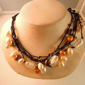 Jewelry - NNT MULTI-STRAND PEARL SILVER LEATHER NECK