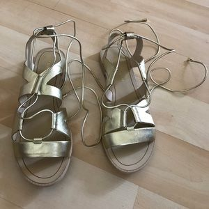 New gold Rebecca Minkoff leather sandals