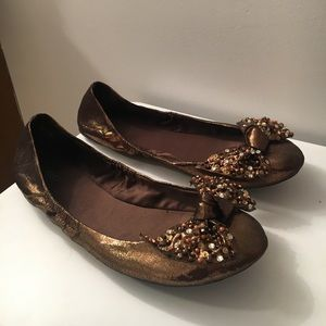 Shimmer Brown/Gold Flats
