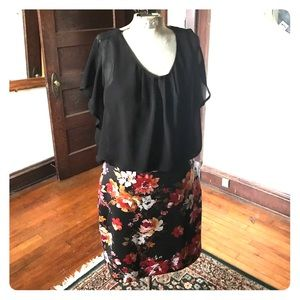 Dorinda 2fer mixed material dress