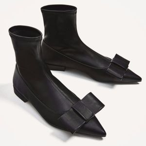 Zara Shoes - Zara flat ankle boots with bow detail black sock 6
