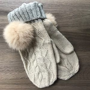 Accessories - Cableknit tan taupe Knit fur winter mittens
