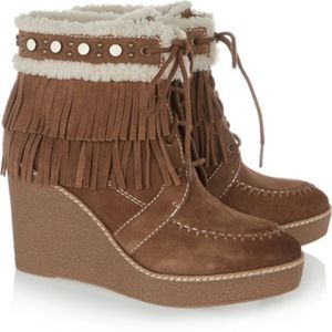 NEW SAM EDELMAN KEMPER FRINGE SUEDE ANKLE Boot