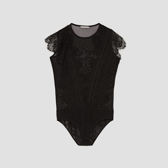 TULLE AND LACE BODYSUIT. NWT. Zara abbf0fed8ab