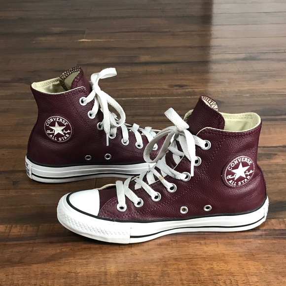 Converse Shoes - 💥Burgundy leather Converse All Star high tops 0d7148898