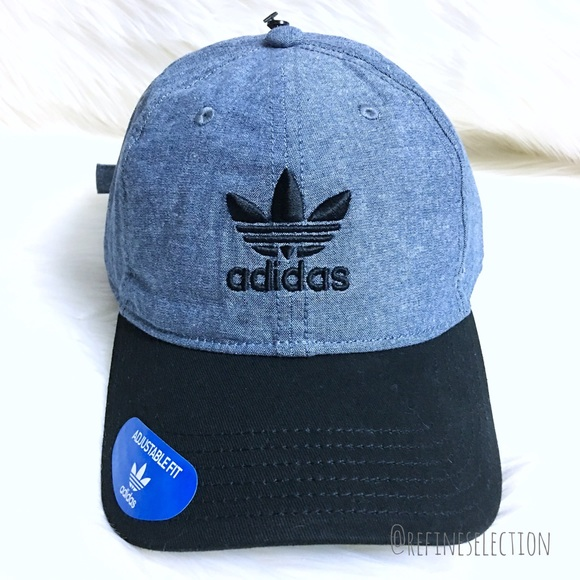 Adidas Blue Chambray Black Relaxed Strapback Hat 6293a90bd4e7
