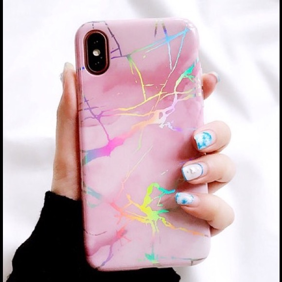 new styles b3fec 35a93 iPhone X Holo chrome Holographic Marble case pink
