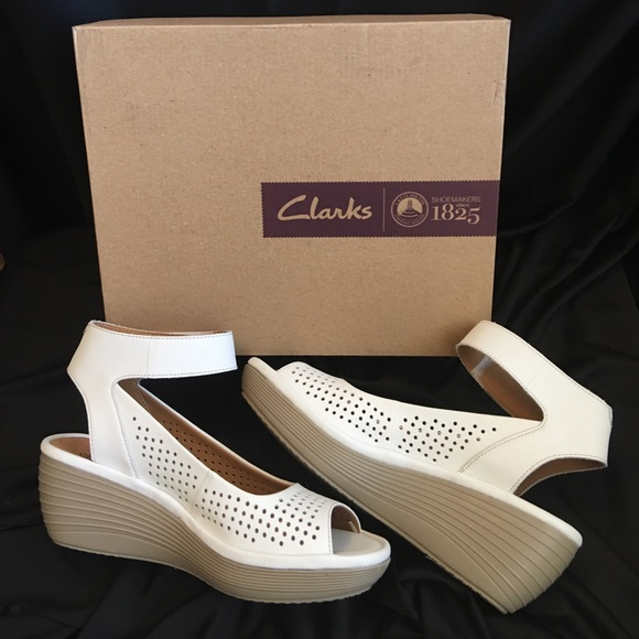 fc2b3f77b8 Clarks Shoes | Nib Nubuck Reedly Salene White Wedge Sandal | Poshmark
