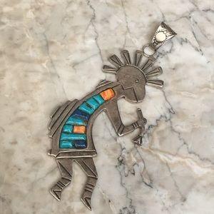 """Jewelry - Native American Huge Kokopelli Pendant 4"""""""