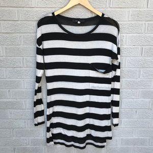 BCBGMaxAzria Striped Long Sleeve Tunic
