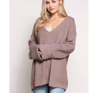 🆕Ana Mauve V Neck Knit Bell Sleeve Sweater