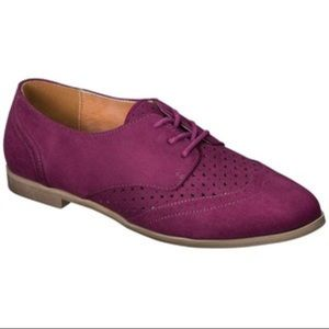 Maroon Oxford Flats with Laser Cut Detail, Size 8