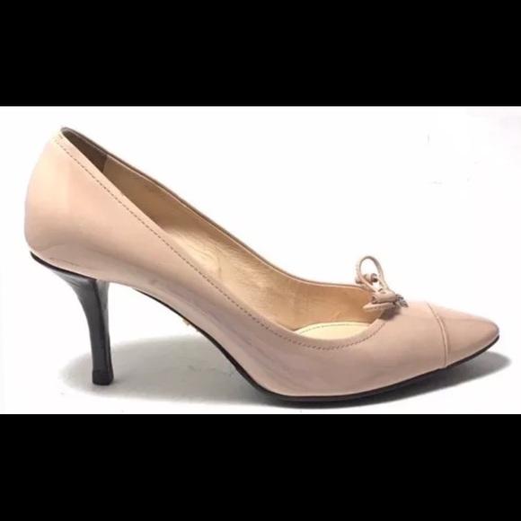 93fd57ff864 PRADA Women s Nude Leather Cap Toe Bow Front Pumps.  M 5a020cfd981829833402aada