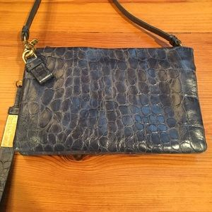 Foley and Corinna Blue Crossbody in Blue Snake