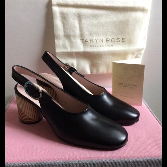81eaddb7827 Taryn Rose Fabiola Leather sling back black shoes