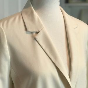 Eliza J Ruched Sleeve Blazer Off White
