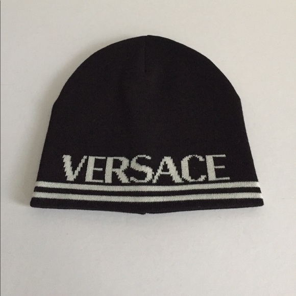 Versace Men Beanie Hat Black White NWT a0090d4c47f