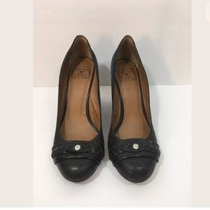 Lucky Brand Black Leather Round Toe Wedge Heel
