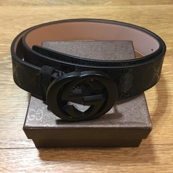5ba22231150 Black gg monogram belt
