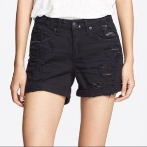 rag & bone Black Rebel Destructed Boyfriend Shorts