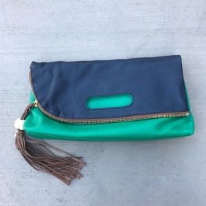 Vince Camuto Leather Colorblock Clutch