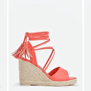 Shoes - Summer coral lace up wedge sandals NWOT