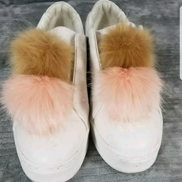384985f887d292 Sam Edelman Shoes - SAM EDELMAN  Leya  Pom Pom Laceless Sneakers White